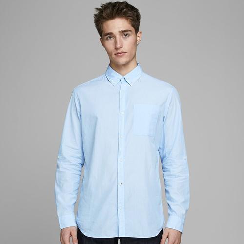 Jack & Jones Lukas Poplin Erkek Mavi Gömlek (12162679-CASH)