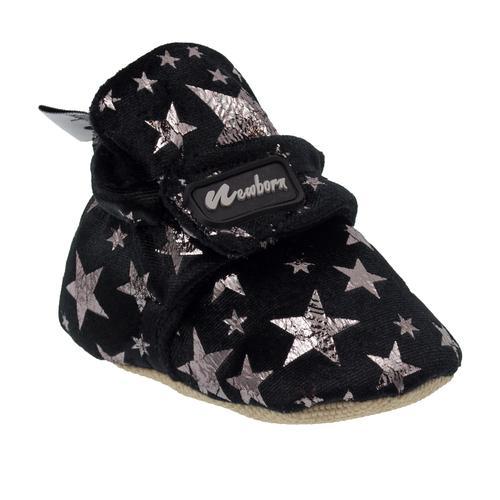 Newborn Bootie Patterned Bebek Siyah İlk Adım Ayakkabısı (NHW1014-GLX)