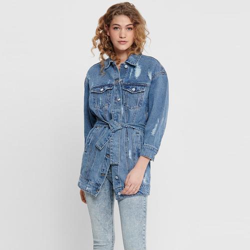 Only Long Belted Kadın Mavi Jean Ceket (15195260-MBD)