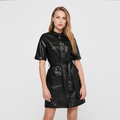 Only Maylee Mada Kadın Siyah Deri Elbise (5206810-B)