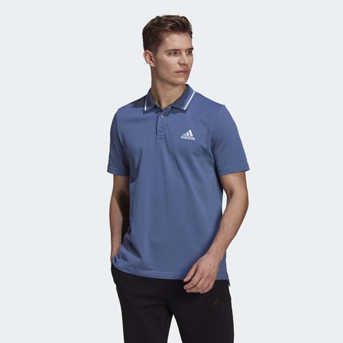 adidas AEROREADY Essentials Piqué Small Logo Erkek Mavi Polo Tişört (GM6960)