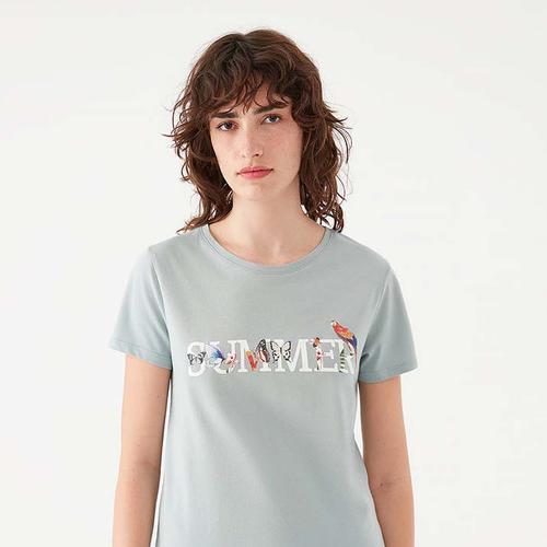 Mavi Summer Baskılı Kadın Yeşil Tişört (1600705-34079)