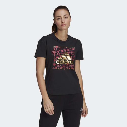 adidas Big Logo Foil Graphic Kadın Siyah Tişört (GL0921)