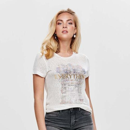 Only Riley Kadın Beyaz Tişört (15179530-CD)