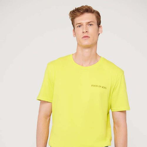 Mavi State Of Mind Baskılı Erkek Sarı Tişört (066777-34058)