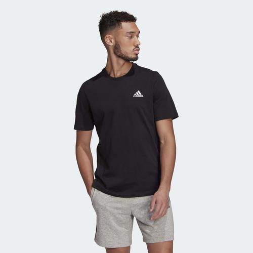 adidas Essentials Embroidered Small Logo Erkek Siyah Tişört (GK9639)