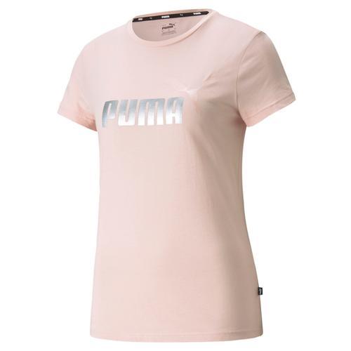 Puma Essentials Metallic Logo Kadın Pembe Tişört (586890-36)