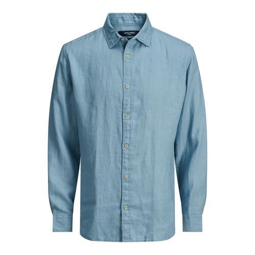 Jack & Jones Bluplain Linen Erkek Mavi Gömlek (12188427-DSB)